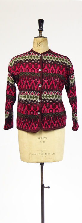 Vintage 1970s Knitted Pink And Maroon Patterned Wool Cardigan