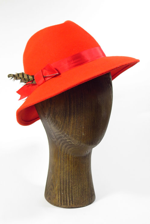 1960s Red With Feathers Trilby