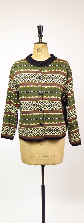 Original 1960-70's Green And Brown Knitted Cardigan