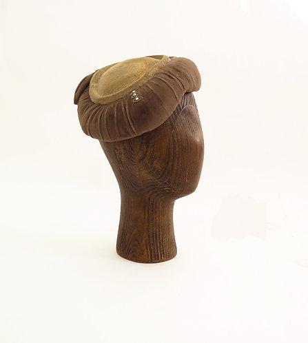 Original  1950s Velvet Beret Style Hat