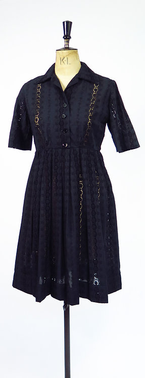 1950s Embroidery Anglais Swing Dress