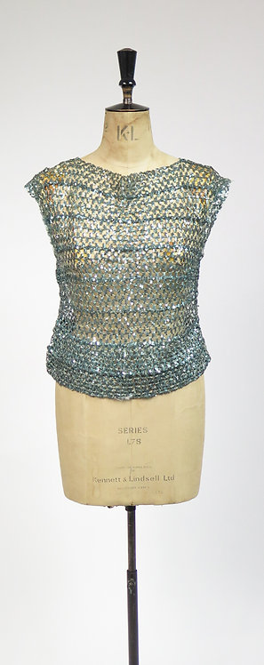 1920s Deco Green Sequin Flapper Style Knitted Lace Top