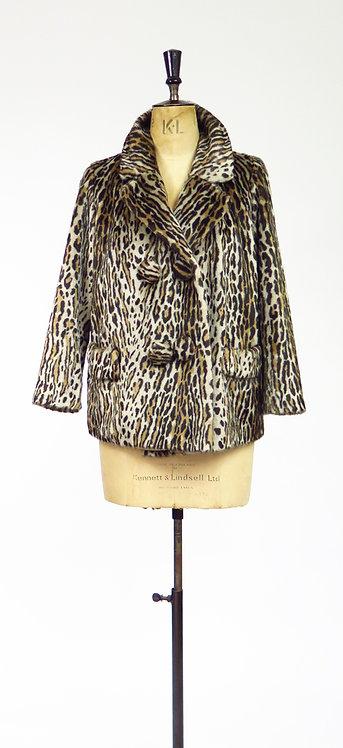 1960s Leopard Print Faux Fur Jacket
