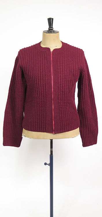 1950s Burgundy Hand Knitted Chunky Zip Front Cardigan - XL