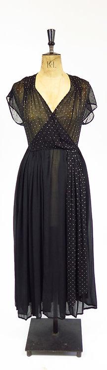 Vintage 1940s Black Sheer Chiffon Evening Dress