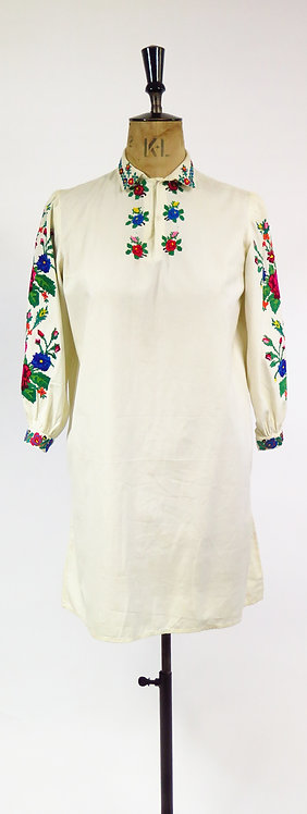 1930s Handmade Embroidered Hungarian Style Dress / Tunic