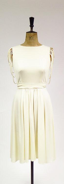 Vintage 1970s Cream Tassle Detailed Backless Sleeveless Disco Dress