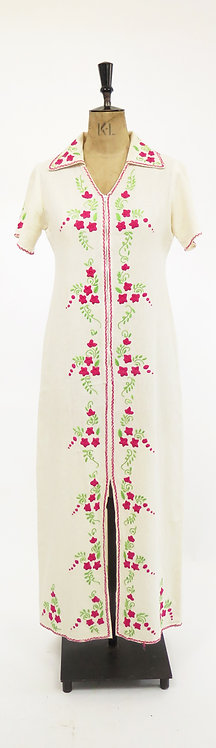 1970s Hand Embroidered Cotton Dress