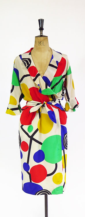 Vintage Designer 1980s Nina Ricci Boutique Paris Silk Patterned Belted Dress
