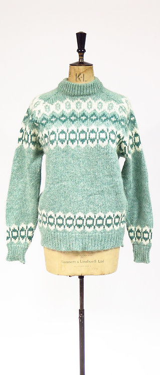 Vintage 1970s Icelandic Style Knitted Green Wool Jumper