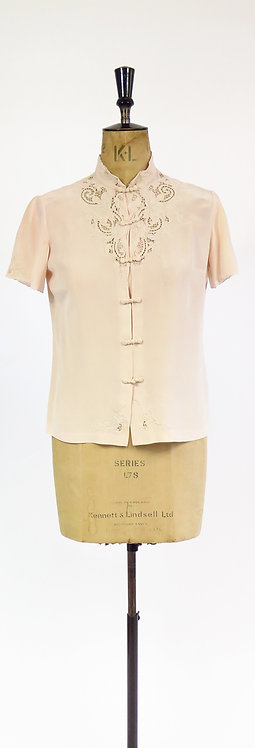 Vintage Chinese Silk Hand Embroidered Short Sleeve Blouse