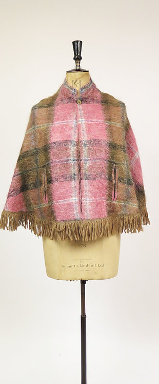 1970s Pink And Beige Mohair Fringed Cape