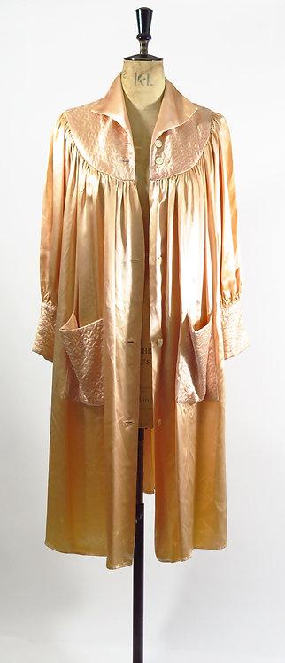 1930s Peach Satin Duster Robe