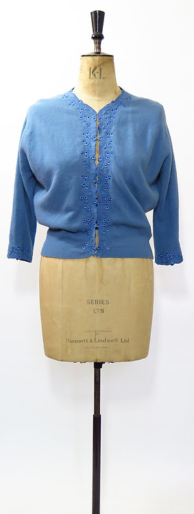 1950s Embroidered Blue Cardigan