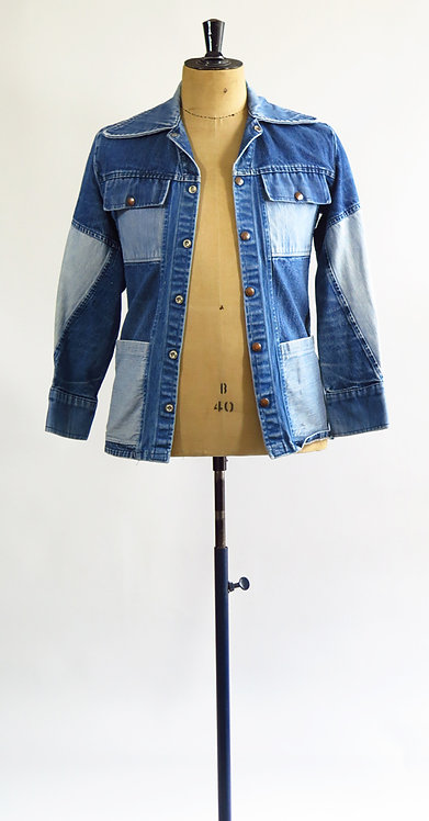 1970s Patchwork Denim Jacket  S