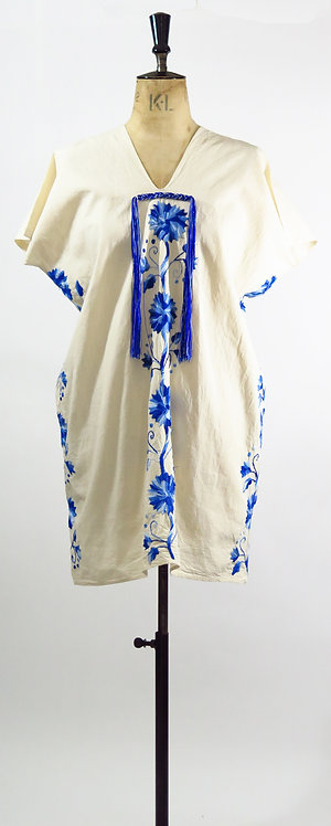 1970s Blue Embroidered Tunic