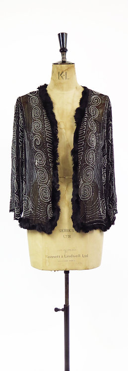 1920s Beaded Chiffon Evening Jacket
