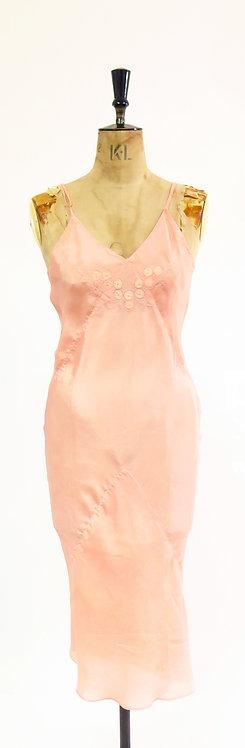 1940s Pink Embroidered Lingerie Slip Dress