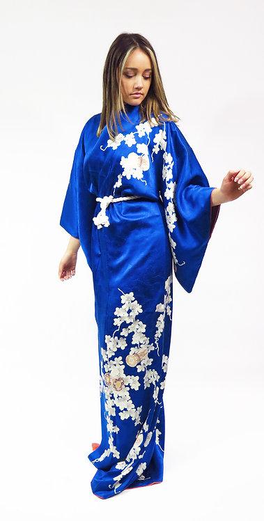1970s Navy Blossoms Patterned Silk Kimono