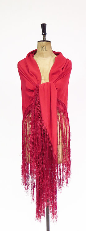 Vintage 1920s Red Silk Fringed Large Piano Shawl Wrap