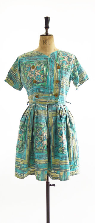 Original 1950s Cotton Day Swing Dress