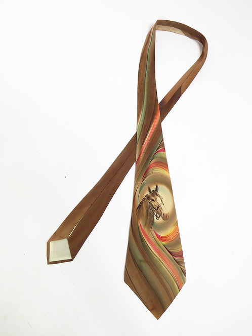 1950s Hand Painted Horse Tie