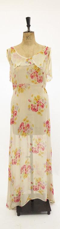 1930s Deco Chiffon Floral Dress