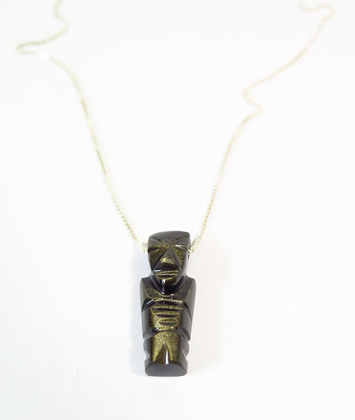 Silver Necklace with Carved Pendant