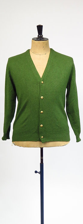 1960s Edward Chapman Forest Green Knitted Cashmere Cardigan