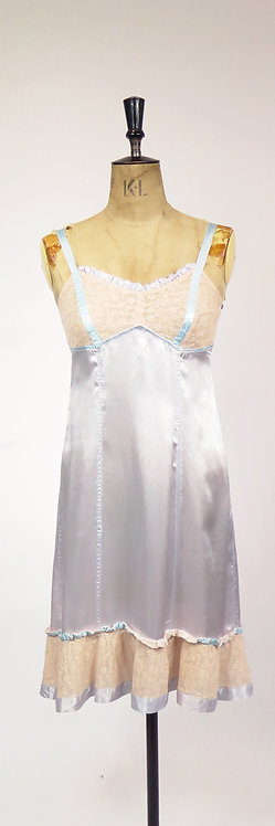 1940-50s Dusky Blue Nude Lace Slip Dress Lingerie