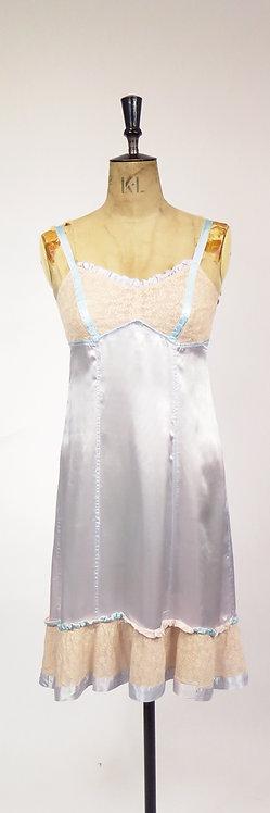 1940-50s Blue Lace Slip Dress Lingerie
