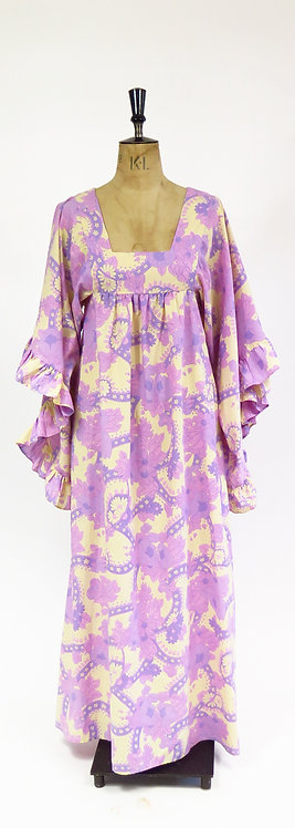 1970s Angel Sleeve Cotton Maxi Dress