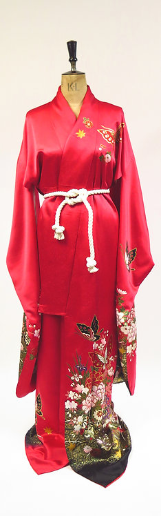 Red Silk Jacquard With Butterflies Print Furisode Kimono