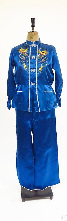 Vintage 1950-60s Blue Embroidered Chinese Loungewear Pyjamas Set