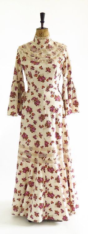Vintage 1970s Cream And Pink Floral Prairie Boho Trumpet Sleeve Cotton Maxi Dres
