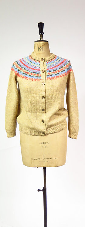 1940s Style Hand Knitted Patterned Wool Cardigan