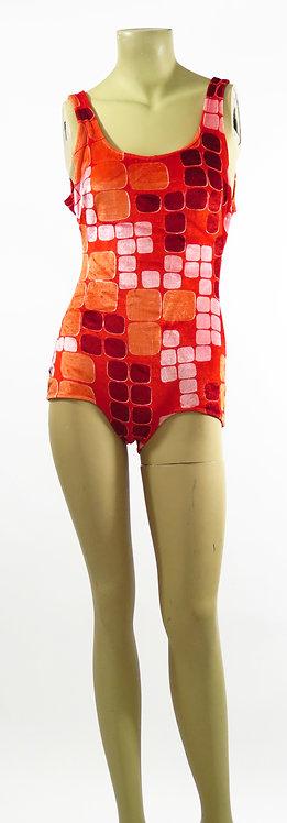 1970s Orange Patterned Swimsuit