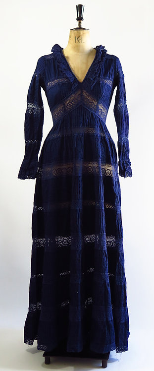 1970s Navy Mexican Maxi Dress