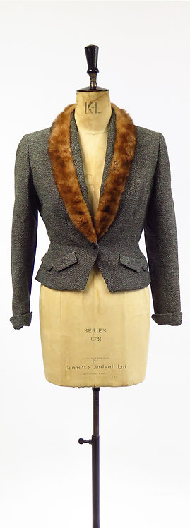 1940s Tailored Tweed Fitted Suit Jacket