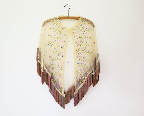 Vintage Embroidered Cape Style Blouse
