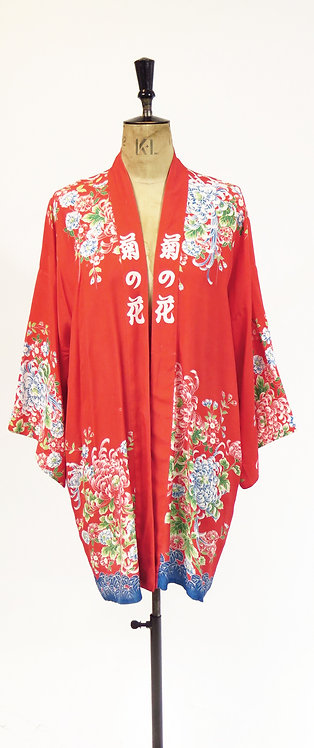 Vintage 1940s Deco Style Haori Kimono Duster