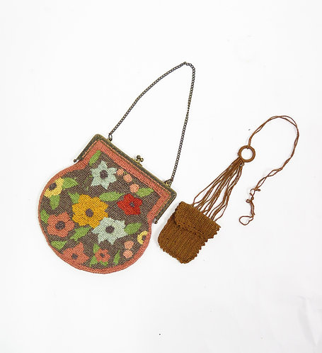 1920s Needlepoint Embroidered Purse Handbag With Coin Purse