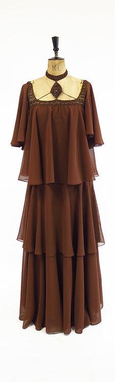 1970s Hilary Floyd Tiered Chiffon Dress