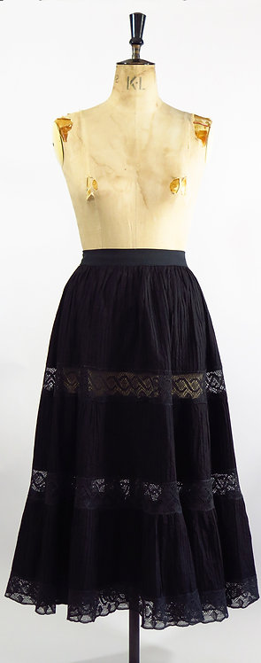 1950s Black Mexican Circle Skirt