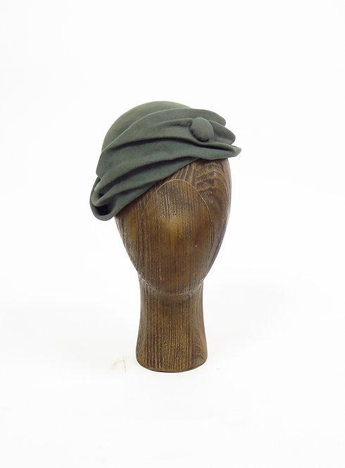 Vintage 1940s Dusky Mint Draped Green Felt Hat