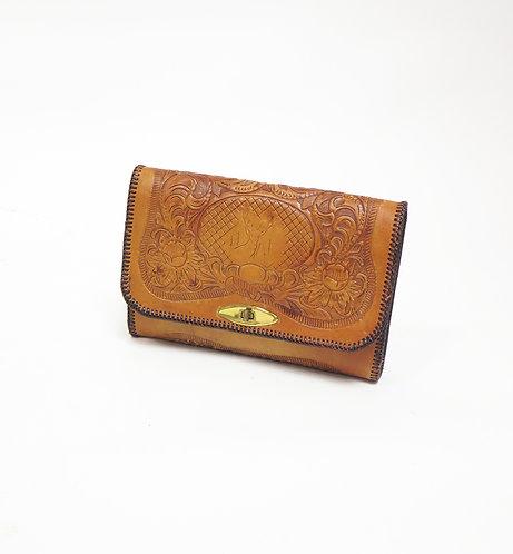 Vintage 1970s Tooled Clutch Bag