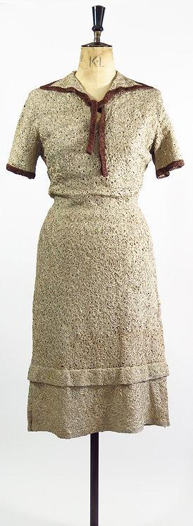 Original Vintage 1940s Ribbon Dress