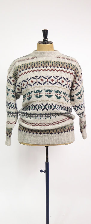 1990's Patterned Wool Knitted Jumper - L