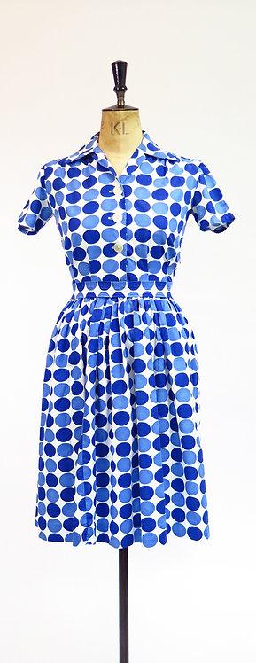 1950s Spotty Novelty Print Day Dress