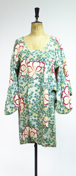 1950s Rayon Crepe Haori Kimono